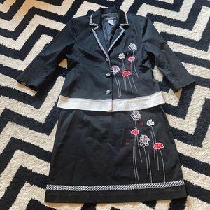 Vintage Floral ladybug checkered skirt suit set